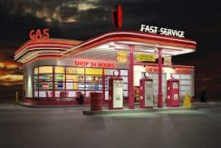 gas station route66 at day and night 1